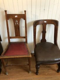 Chairs - both wooden frames , both unusual shapes . Both good quality condition . £70 each