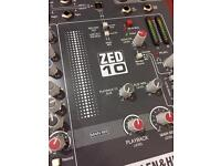 Allen and Heath ZED 10 compact mixing desk and case