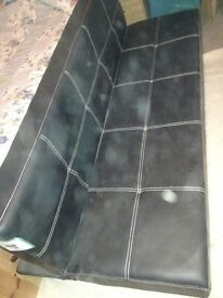 Click clack sofa bed black faux leather nearly new