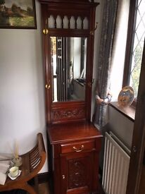 Beautiful Solid Oak Cabinet with Mirror