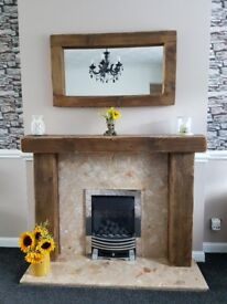 Bespoke rustic timber fire surround and gas fire