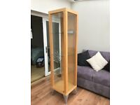 Glass display cabinet with light (beech)