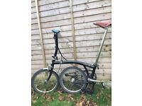 Brompton sL2 folding black bike - great condition with extras