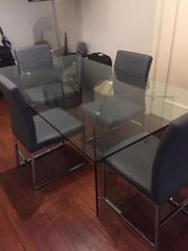 Dwell Glass Dining table + 4 chairs