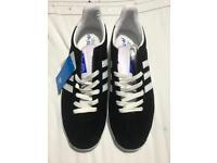 Men's black and white suede Adidas Gazelles 9.5