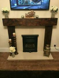new fire surround hand made in railway sleepers