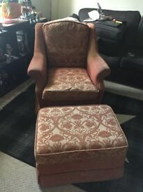 FREE. Armchair and matching pouffe. Great condition.