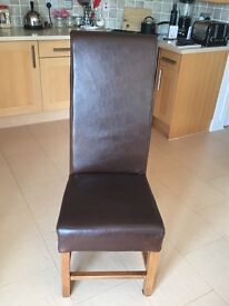 6 - Brown Real Leather Dining Chairs (Reid's)