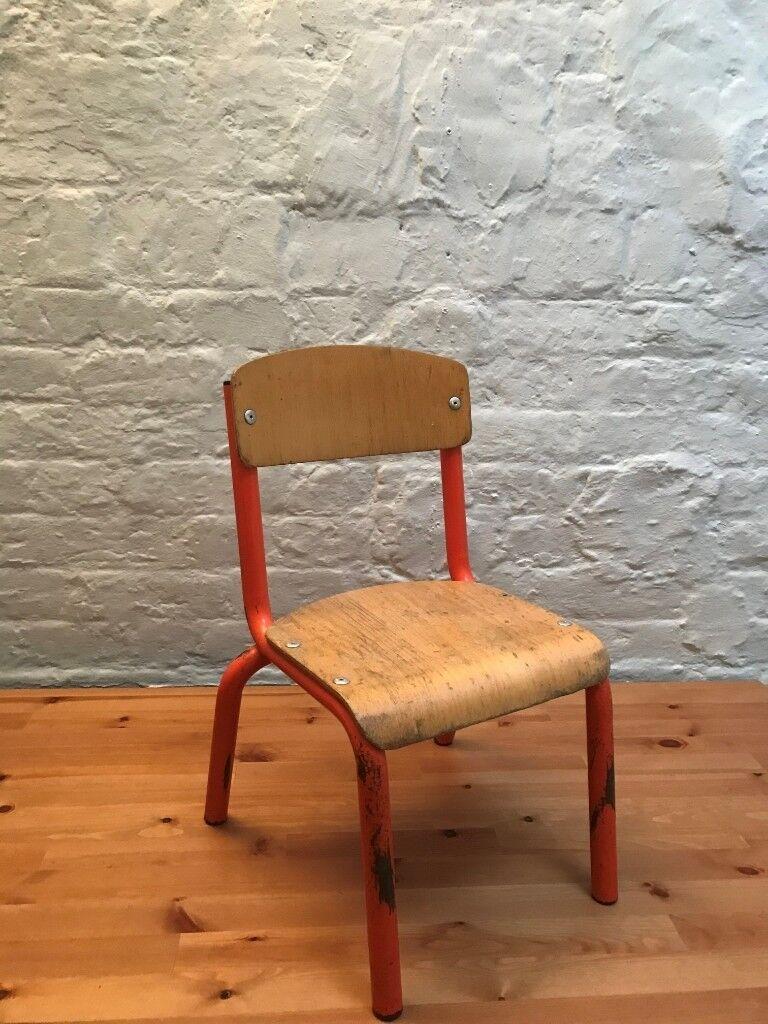 kids chairs Wesco 4 LEGS METAL CHAIR orange and wooden (x2) | in Hackney, London | Gumtree