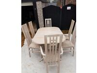 Extendable Limed Oak Dining Table & 6 Chairs