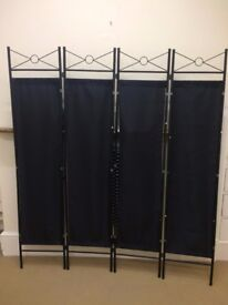 Black Folding Room Divider Privacy Screen
