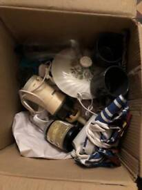 Three boxes of kitchen things