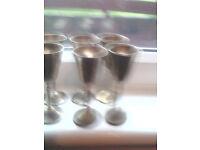 Vintage Brass goblets 6 in total
