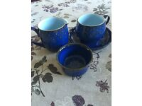 Denby midnight vintage tableware. Cup, saucer, jug & sugar bowl imperfections