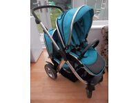 REDUCED!!! Oyster Max Double Pushchair in Ocean Blue with Loads of extras - Buggy Board etc