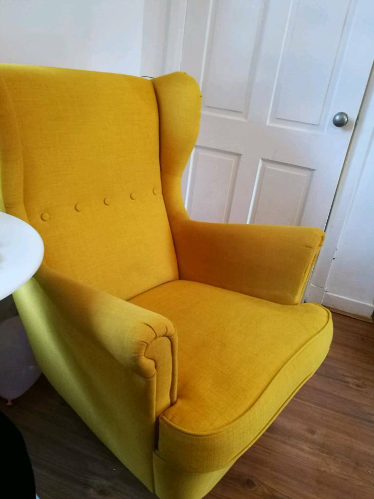 Strandmon Ikea Mustard Yellow Armchair
