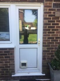 Double glazed door , and frame, with cat flap