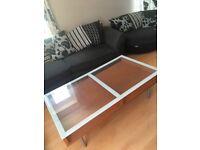 Modern Glass and Teak Wood Coffee table