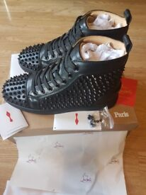 Christian Louboutin- Men's Calf Spikes Leather sneakers (Black)