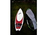 "6'3"" Byrne 'Mullet' surfboard + Fins, Leash and bag"
