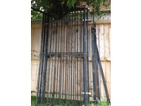 3 wrought iron gates with hinge plates approx 2metersx1 meter