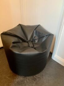 Black Faux Leather Beanbag