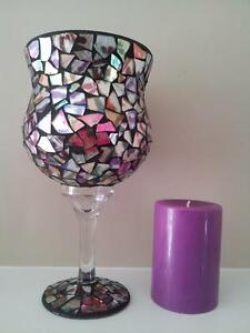 Glass Tile / Mirrored Candle Holder with Candle