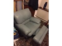 Reclining armchair Italian leather double reclining recently restuffed