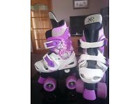 XQ pink and purple roller skates