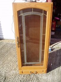 Wall Mounted Cabinet, Glass Door, Draw, Nice Fittings, Lights, Wooden, 4 Glass Shelves £35 ono