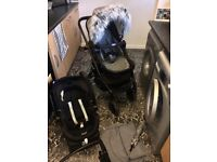 Full travel system - pram - baby Cary cot - car seat and base and accessories 7 month old
