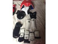 Sparring/body pads for karate etc inc helmet gloves arm & leg pads groin protector foot pads