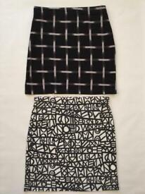 2 Womans Boohoo Mini Skirts Size 8 Patterned Black and White