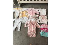 Giant bundle of 0-3 months baby girl vest and sleepsuits