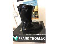 Vintage Frank Thomas Motorcycle Boots Leather Black UK Size 9 Boxed