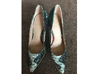 Kurt Geiger ladies green snake skin high heeled shoes