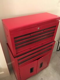 Red 8 Drawer Metal Tool / Tattoo/ Artist Box Storage Cabinet