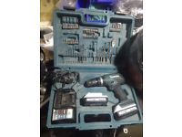 Makita lithium iron combi cordless drill with two batts 18volt 1,3ah case bits chager ect