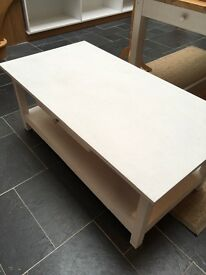 Small White Sturdy Wooden Coffee Table. Good Condition, collection only