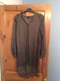 Satin Dress- Tunic H&M, dark green size 34