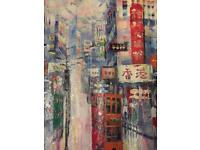 Oil on canvas painting - Hong Kong Island centre