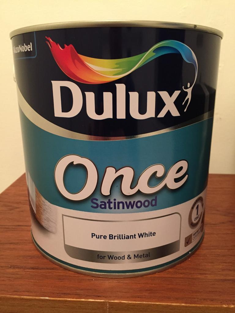 Dulux 2.5L tin of 'Once Satinwood' - pure brilliant white