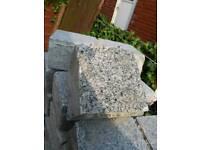 White grannit block paving