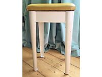 VINTAGE MID CENTURY MODERN STOOL. Small chair in mustard & off white