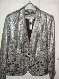 NEW Red Herring Silver Patterned Jacket - Size 14
