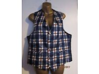 BLUE CHECK MENS WAISTCOAT SIZE M GREAT FOR PARTY OR WEDDING