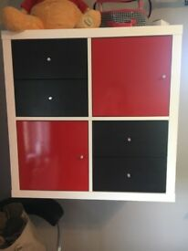 Black and red wall cabinet