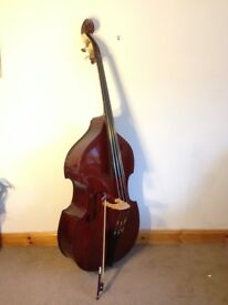 ¾ Double Bass, professionally set up in UK, soft case, bow, rosin and books, £525