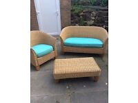 Conservatory wicker furniture set sofa chair and footstool