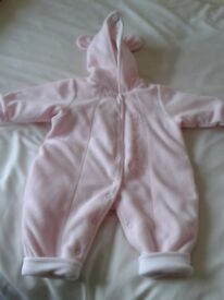 GIRLS PINK ALL IN ONE OUTDOOR SUIT, 7 1/2 LB, 3.5KG, VGC